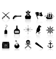 black pirate icons set vector image