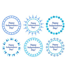 Happy independence day of israel set of round vector