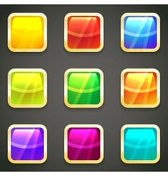 Set of vibrant bright glossy web buttons vector image