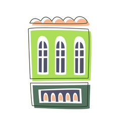 simple green living house cute fairy tale city vector image