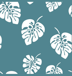 summer seamless pattern with white monstera palm vector image