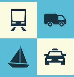 Transport icons set collection of yacht truck vector