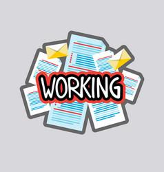 working sticker social media network message vector image vector image