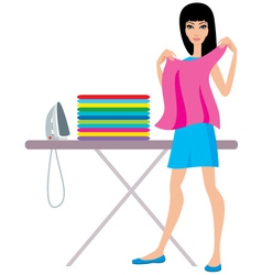 Young woman irons clothes vector image
