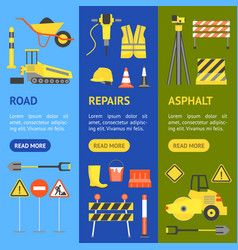 cartoon road construction banner vecrtical set vector image vector image