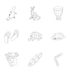 Country Australia icons set outline style vector image vector image