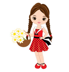 cute little girl with basket of flowers vector image