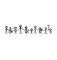 family together sketch vector image vector image