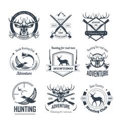 Hunting club icons hunt adventure hunter gun rifle vector