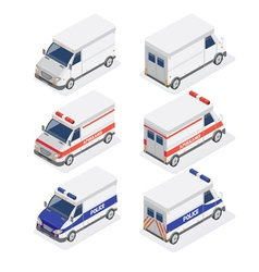 Isometric Vans Set with Ambulance and Police Car vector image