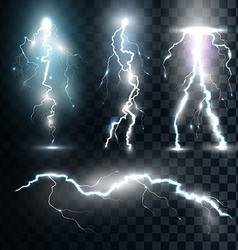 Set isolated realistic lightnings with vector image vector image