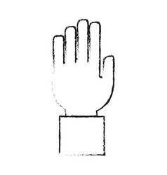 Blurred silhouette front view hand with fingers vector