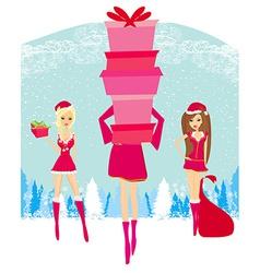 Christmas shopping girls vector image vector image