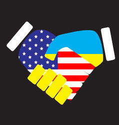 Symbol sign handshake USA and Ukraine vector image vector image