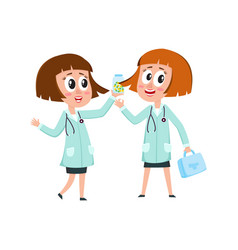 two comic woman doctor characters holding medical vector image vector image
