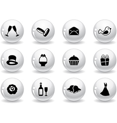 Web buttons wedding icons vector image vector image