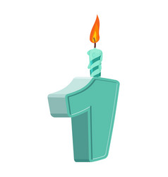 1 year birthday figures with festive candle for vector image