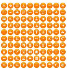 100 ocean icons set orange vector