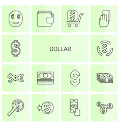 14 dollar icons vector image