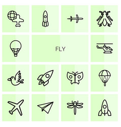 14 fly icons vector