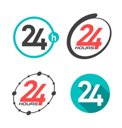 24 hours a day icons vector image