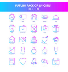 25 blue and pink futuro office icon pack vector