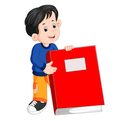 a little boy holding a big red book vector image