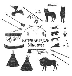 american indian silhouettes vector image