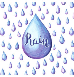 aquarelle background with raindrops vector image