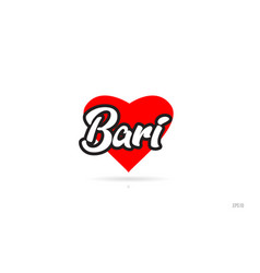 Bari city design typography with red heart icon vector