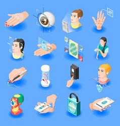 Biometric id isometric icons vector