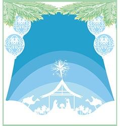 Birth jesus in bethlehem card vector