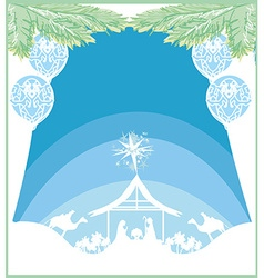 birth of Jesus in Bethlehem card vector image