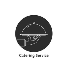 Black round catering service logo vector