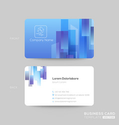 blue business card template with rectangle shape vector image