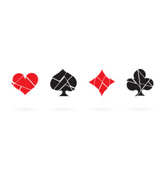 broken playing card suits icon set isolated vector image