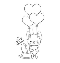 bunny and horse toys in black and white vector image
