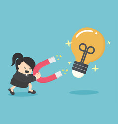 Business woman concept of attracting investments vector