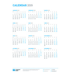 calendar for 2019 year week starts on monday vector image