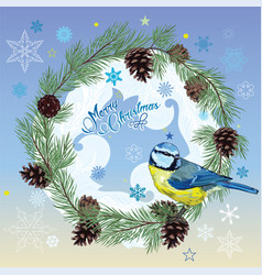christmas card titmouse sitting on pine branch vector image