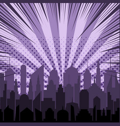 Comic night city silhouette template vector