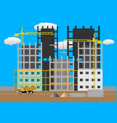 construction of multi-storey buildings vector image