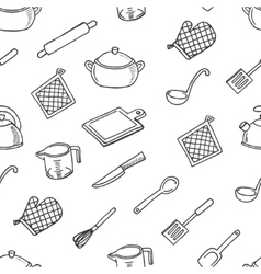 Cook tools white and black seamless pattern vector image