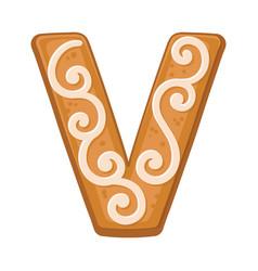 Cookies in shape letter v vector