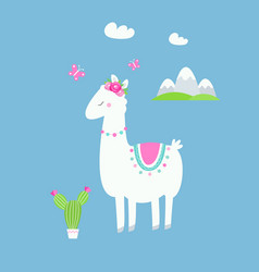 cute llama or alpaca with cactus flowers and vector image