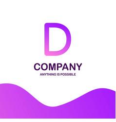 d company logo design with purple theme vector image