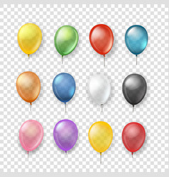 different transparent color balloons set isolated vector image