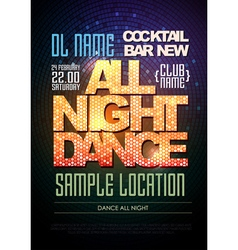 Disco poster dance all night vector image vector image