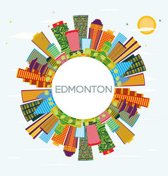 Edmonton city skyline with color buildings blue vector