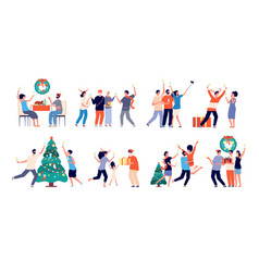 Family christmas time couple celebrate holiday vector